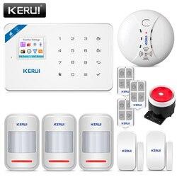 Kerui w18 1.7 Polegada tft tela wi fi gsm sistema de alarme segurança em casa do assaltante detector de movimento controle app detector de fumaça de incêndio alarme