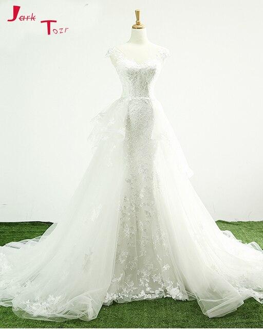 Jark Tozr Custom Made Cap Sleeve See Through Back Princess Wedding Dresses  Detachable Train Aliexpress Login 2019 Bride Gown fe23288297f5