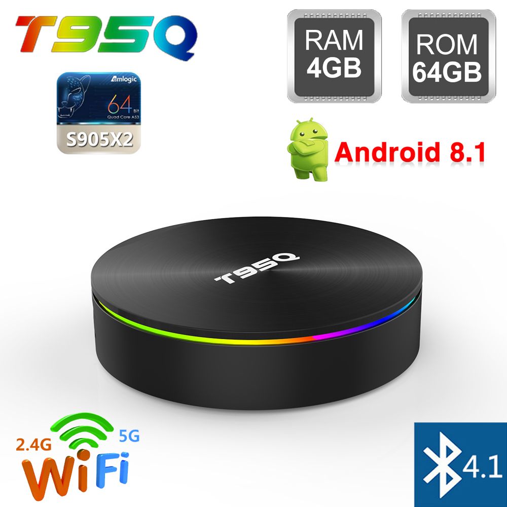 T95Q 4 GB RAM 32 GB 64 GB ROM Smart TV Box Android 8.1 Amlogic S905X2 Quad Core 2.4G 5G WiFi Bluetooth 4.1 H.265 4 K HD lecteur multimédia