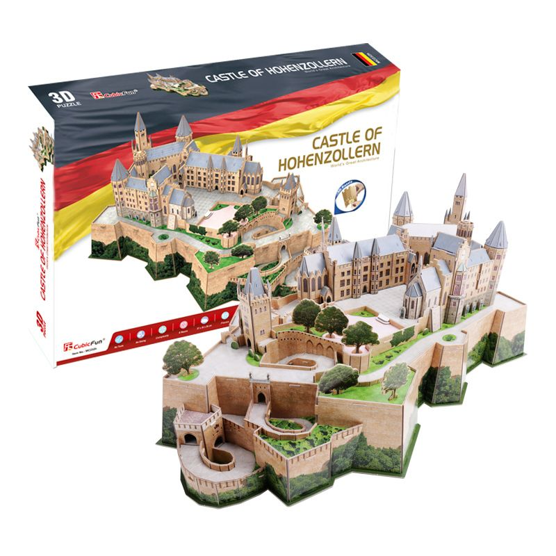 CubicFun 3D puzzle paper model Germany castle of hohenzollern building world's great architecture toy baby birthday gift 1set led 3d puzzle toys l503h empire state building models cubicfun diy puzzle 3d toy models handmade paper puzzles for children