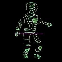 Benutzerdefinierte Design Führte Leuchtende Neon EL Draht Kostüm, Maske, Handschuhe Und Schuhe Halloween Tanz Tragen Für Bühnenshow , Club, Bar, DJ