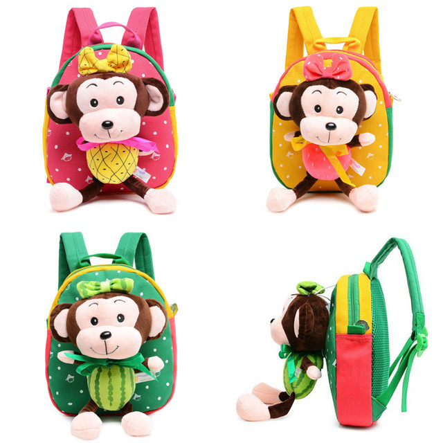 6edf077a3632 Cute Cartoon Kids Plush Backpack Toys Monkey Mini Schoolbag Children s  Gifts Kindergarten Boy Girl Baby Student