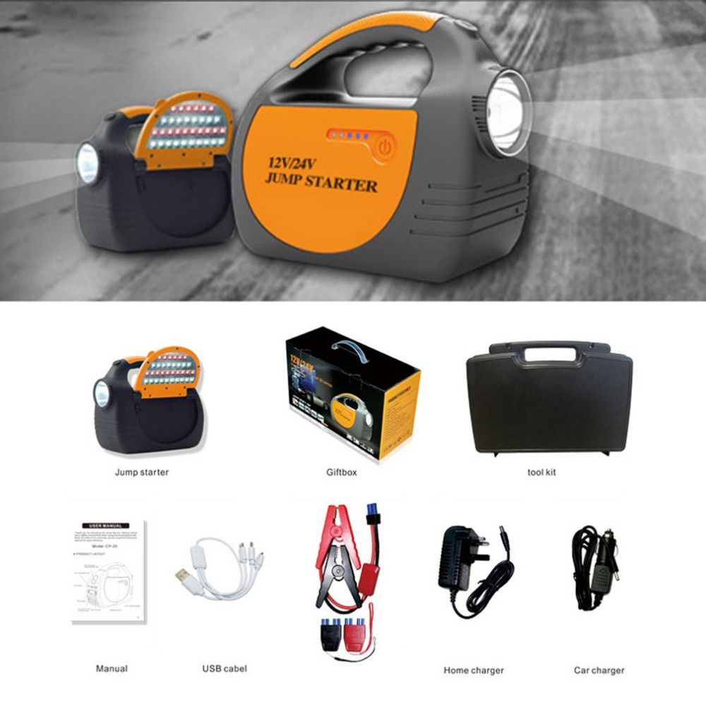 2018 Multifunctional 30000mAH 12-24V USB Portable Mini Car Jump Starter Battery Charger Power Bank for Emergency Start hot sale dual usb output universal thunder power bank portable external battery emergency charger 13000mah yb651 yoobao for electronics
