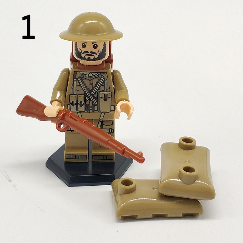 Single Sale WW2 Military Germany Soldiers Figures Building Blocks LegoINGlys British Army Weapons Guns Accessories Blocks Toys