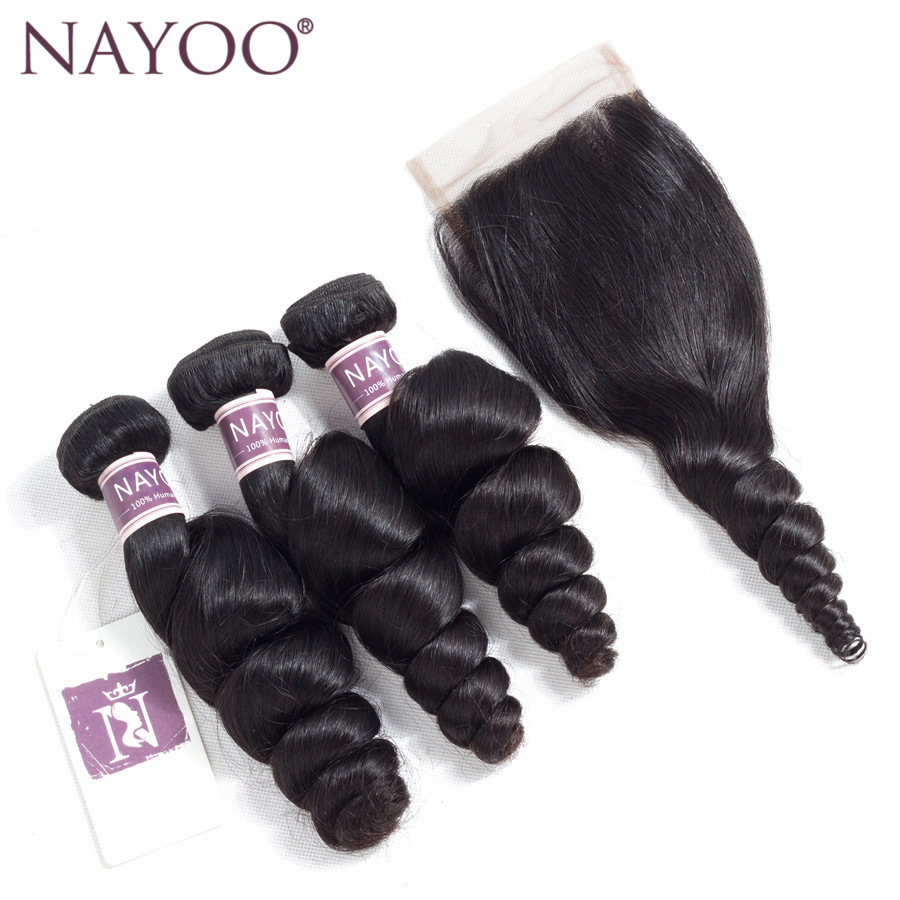 NAYOO Hair Indian Loose Wave Bundles With Closure 100% Human Hair Weave 3 Bundles With Lace Closure Non Remy Extensions