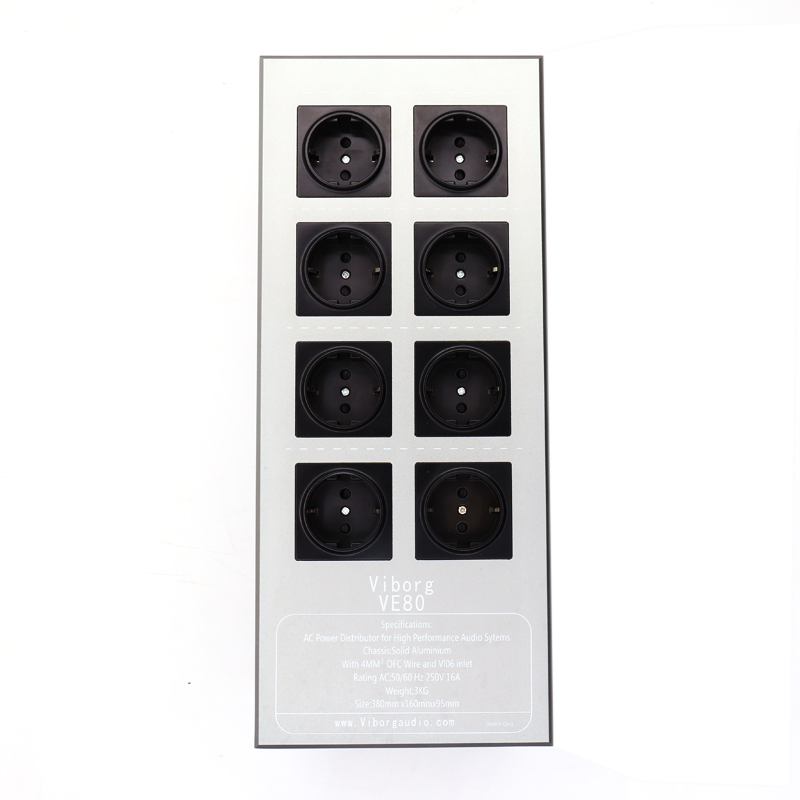 Viborg VE80 HiFi Power Filter Plant Schuko Socket 8Ways AC Power Conditioner Audiophile Power Purifier with