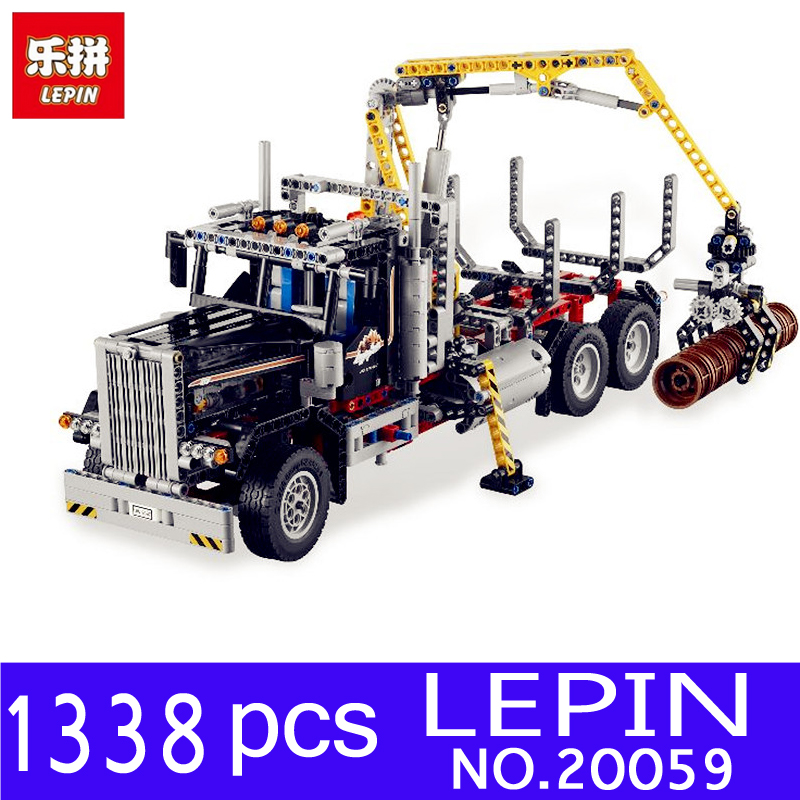 Lepin 20059 1338Pcs Mechanical Technic Serie The Logging Truck Set Educational Building Blocks Bricks Children Toys Model 9397 lepin 06058 ninja serie die tempel der ultimative ultimative waffe modell bausteine set kompatibel 70617 spielzeug fur kinder