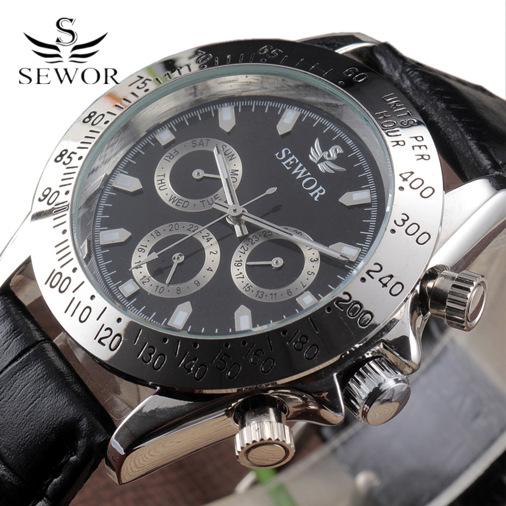 2016 Sewor Top Brand Automatic Watch Calendar Leather Band Clock Men Gift Multi Function Mens Military Mechanical Wrist Watches