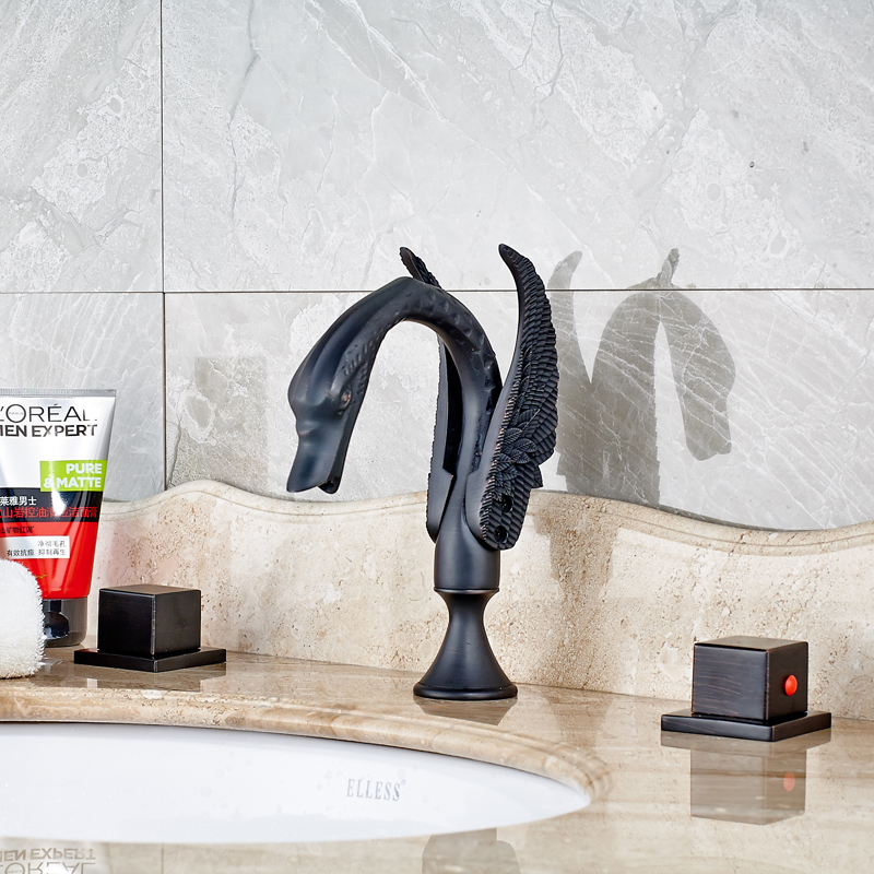 Swan Neck Style Oil Rubbed Bronze Deck Mounted Bathroom Sink Faucet Double Handles Mixer Tap все цены