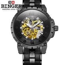 Швейцария Новый дизайн Binger полноценно Бизнес Часы Из Нержавеющей Стали Наручные Часы мужские Автоматические Часы Армии