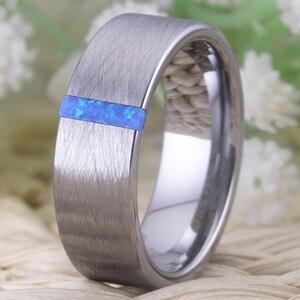 Image 5 - Classic Trouwringen Voor Mannen Vrouwen Fashion Engagement Ring Geborsteld Met Opal Stone Anniversary Party Ring Bruids Sieraden