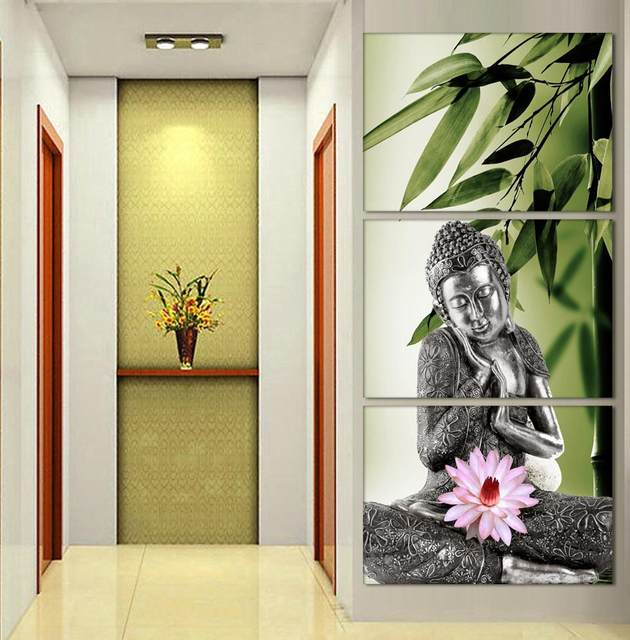 Online Shop 3 Pieces/set Buddhism Buddha bamboo Canvas Painting ...
