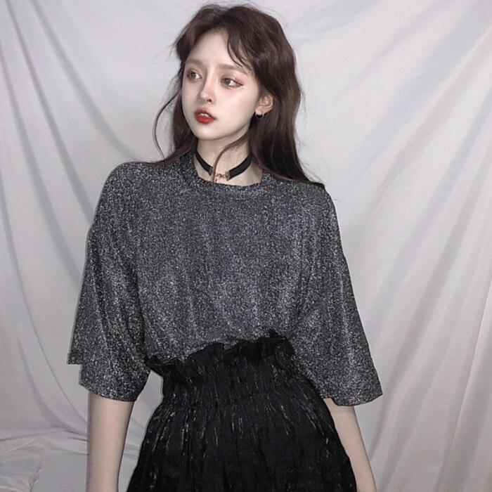Retro Stylish Bright Silk Woman Tops Black Shiny Loose Short Sleeve T shirt Sexy Club Aesthetic Harajuku Women Tshirt Summe