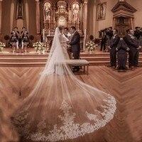 Voile De Mariee Lace Edge Long Wedding Veil with Comb One Layers Bridal Veils 4 Meters Wedding Accessories 2018 Veu de Noiva