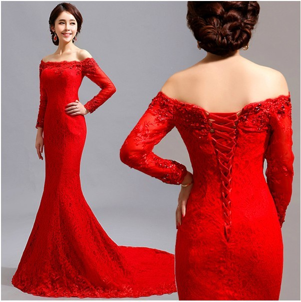 Cheap Wedding Gowns Toronto: Free Shipping Red Lace Mermaid Dress Long Sleeve Maxi Off