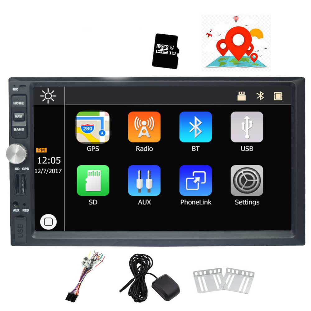 7'' Double Din Car Stereo Touch Screen Car DVD Player GPS Navigation Bluetooth Mirror-Link Rear View Camera AM/FM USB TF 1080P joyous j 2611mx 7 touch screen double din car dvd player w gps ipod bluetooth fm am radio rds