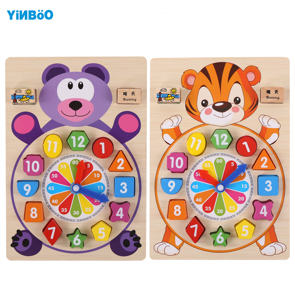 Baby Toys wooden clock  building chopping  blocks motessori educational children table game for kid toy gifts 1 set baby wooden montessori educational color digital cognitive learning diy clock toys clock model jigsaw puzzles gifts kids