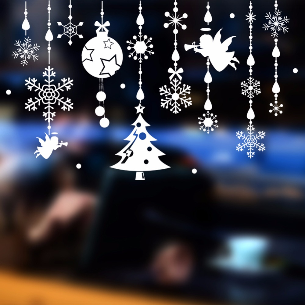 Christmas Decorations For Home Shop Window Snowman Xmas Tree Wall Stickers Christmas Glass Window Stickers New Year Decor
