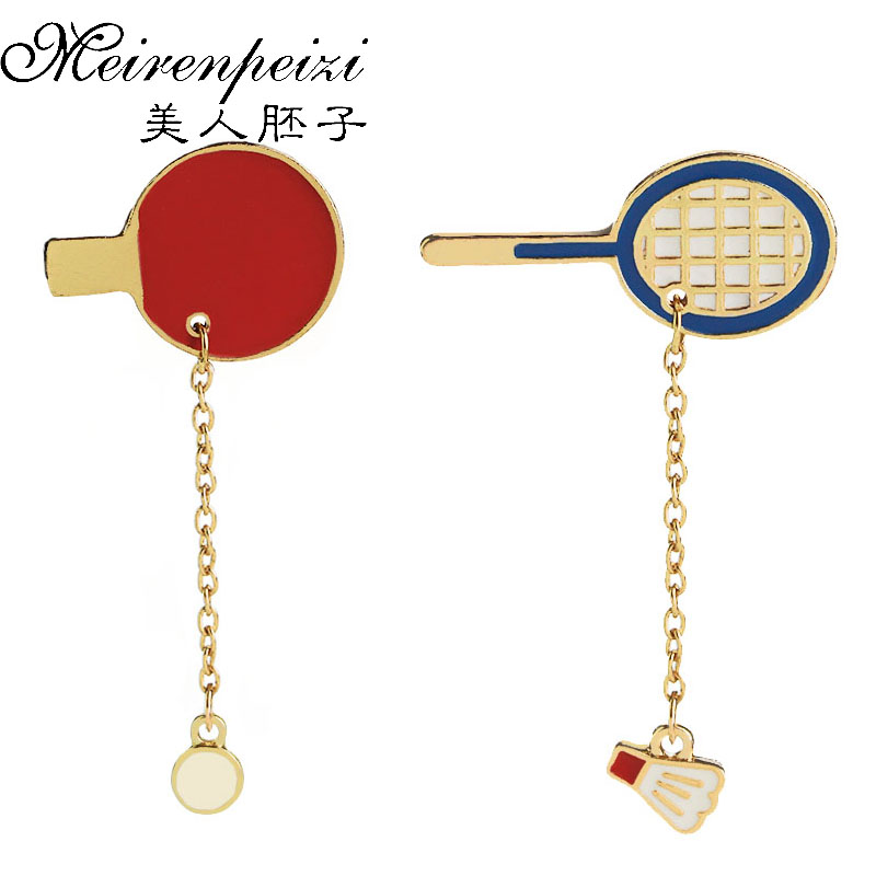 Table Tennis Badminton Racket Broches Pingpong Charm Enamel Brooch Sports Enthusiasts Badges Brooches Pin for Sport Lover