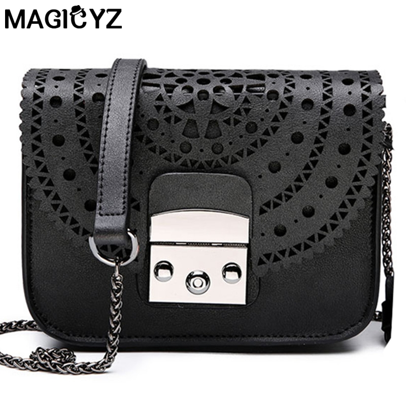 все цены на Women messenger bags vintage hollow out female Crossbody bags For Women leather handbags small purse pouch womens' Shoulder bag
