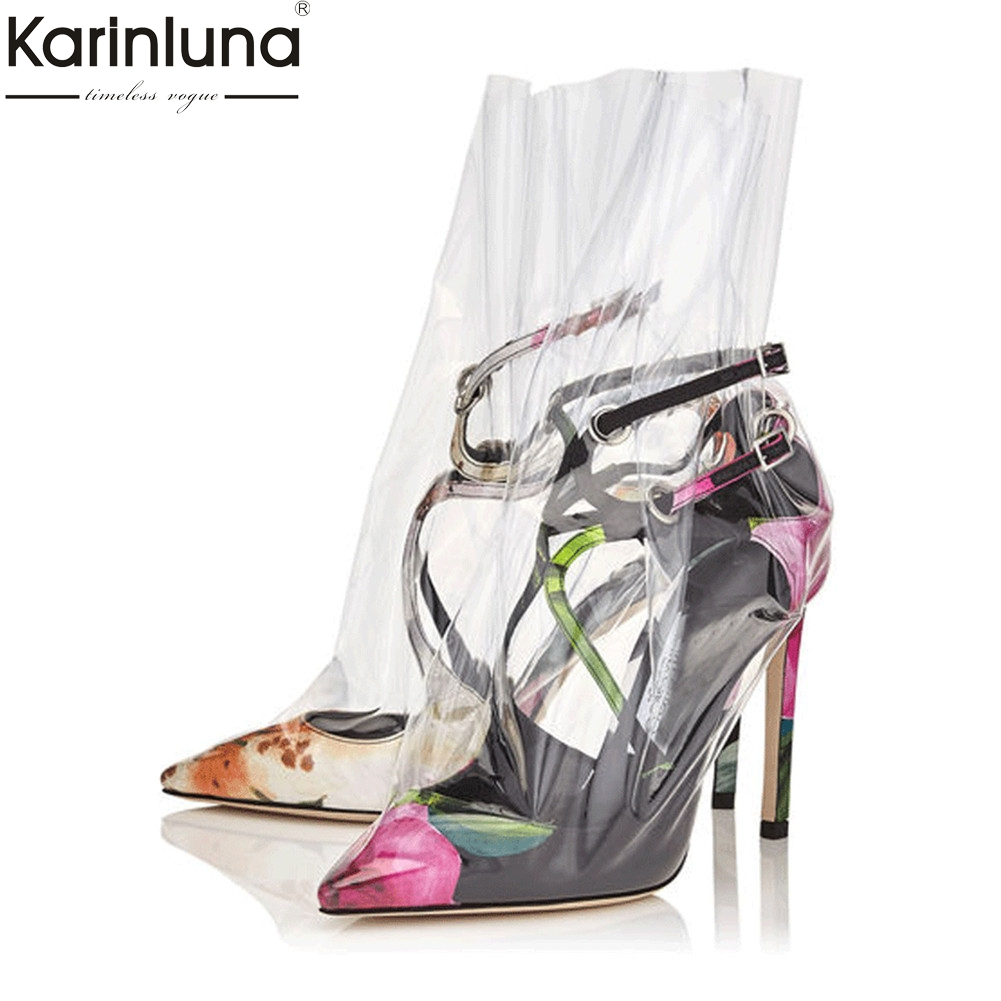 KarinLuna 2018 Brand Design Big Size 33-43 Best Quality PVC Cloth cross-strap Summer Sandals Woman Sexy Party women's Shoes karinluna best quality crystals brand big size 34 43 sexy high heels summer sandals shoes women party woman shoes