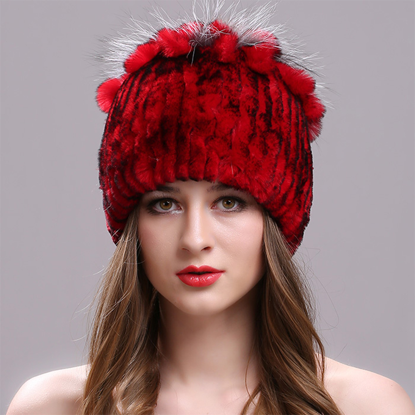 Knitted Cap for Women 100% Real Rex Rabbit Fur Hat with Flowers Tops Warm High Quality Beanie Women Real Fur Hats for The Winter