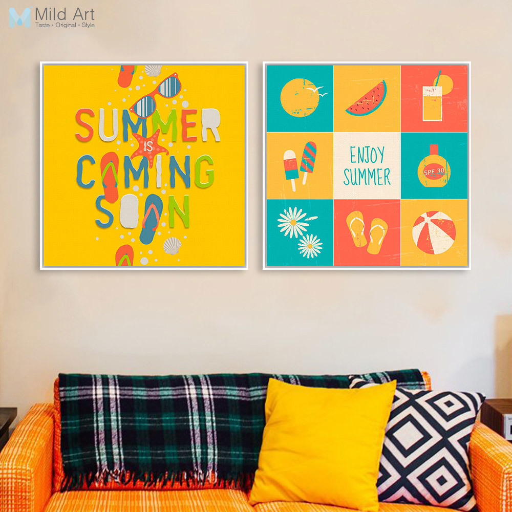 3 Modern Colorful Summer Beach Surf Quotes Typography Pop Poster ...