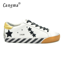 CANGMA Original Italy Deluxe Brand Superstar Men Shoes Fashion Genuine Leather Male Casual White Bass Shoes Zapatos Hombre 2017