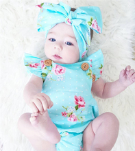 2pcs Set Newborn Baby Clothes Sleeveless Girl Boy Clothes Casual Design Cotton Baby Rompers With Headband de bebe costumes cheap FOCUSNORM Floral Baby Girls Covered Button O-Neck cotton blend Fits true to size take your normal size