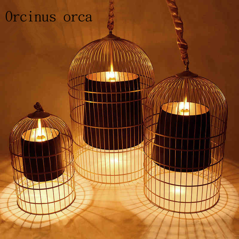 The New Chinese Style Chandelier Bar Cage Cage Personality Retro Cafe