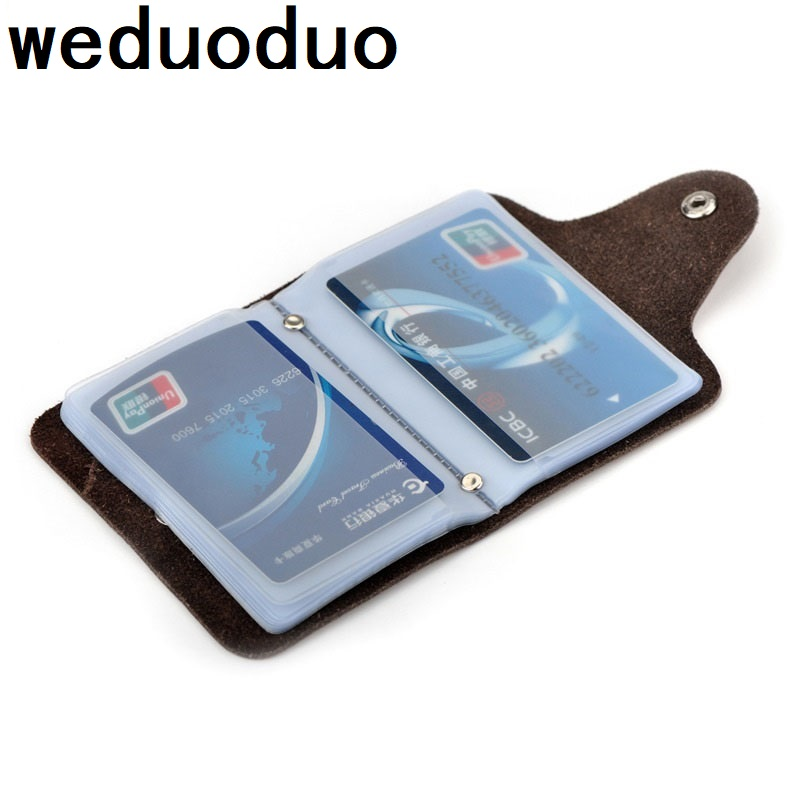 Weduoduo Credit Card Holders Vintage Genuine Leather Large Capacity Travel Case Organizer Purses High Quality Unisex  Wallet
