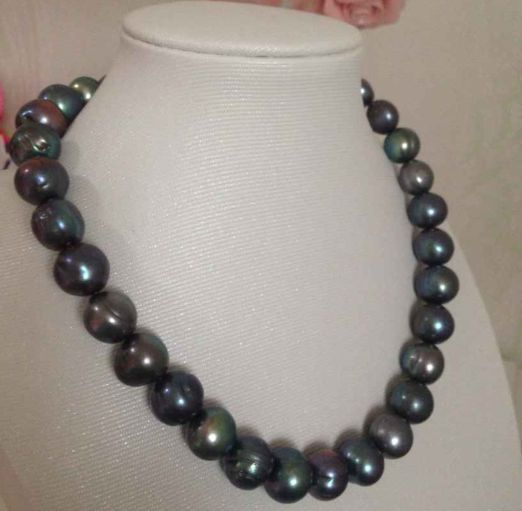 """11-12mm baroque tahitian black green pearl necklace 18""""925 silver"""