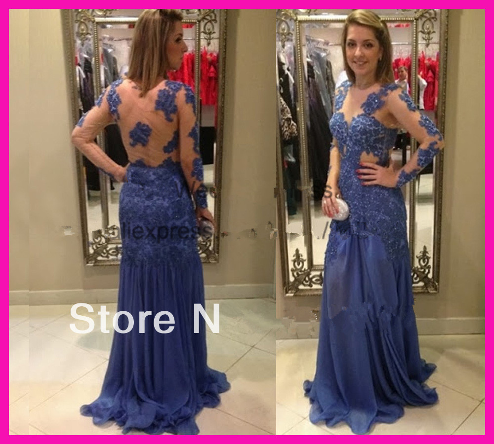 2014 Free Shipping Sheer Lace Backless Long Sleeve Vestidos De Women Formal Evening Prom Dresses E5562