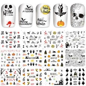 12pcs/Lot Beauty Nails Owl/Pumpkin Nail Art Water Decals Holiday Nail Transfer Stickers A1105-1116