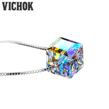VICHOK Pendant Necklace 2017 925 Sterling Silver Colorful crystal square sugar Fashion top quality fine jewelry for women