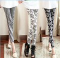 Free shipping Korean autumn all-match paragraph Leggings / cross grid totem stripe Leggings stretch nine minutes of pants
