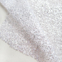 Fashion French White wedding dress Shining Sequin Mesh Fabric Glitter Snow silver Transparent Prom dresses Printed Net Fabric