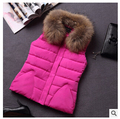 Fashion  hooded with fur women's autumn winter solid color  soft warm  cotton vest outwear