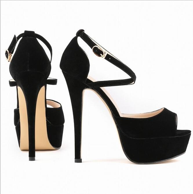 7a2701d4 Verano 2017 moda Sandalias Zapatos estilo mujer novia Cruz correas Super  alto tacones. 2 3 ...