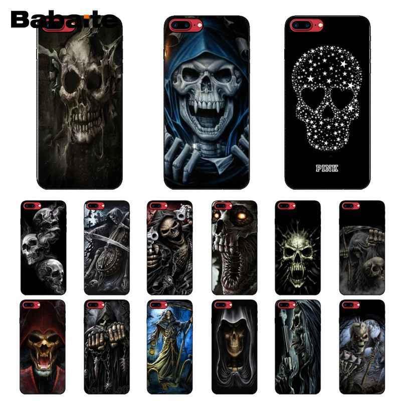 Babaite Grim Reaper Cranio di Scheletro Nero TPU Molle Del Silicone Della Copertura Del Telefono per il iPhone X XS MAX 6 6S 7 7 più 8 8 Più di 5 5S XR