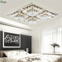 Dimmable Led Chandelier By Remote Controller Double Steel Crystal Rows Lustre De Chandelier For Foyer