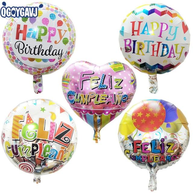 QGQYGAVJ Spanish Happy Birthday Balloon Cartoon Childrens Toys Wholesale Party Decoration Aluminum Balloons