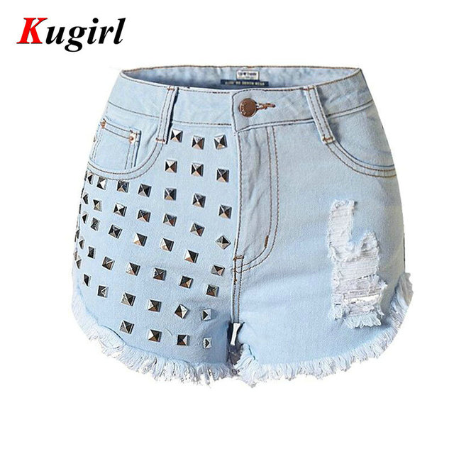 Women's Fashion Brand Vintage Tassel Rivet Ripped Loose High Waisted Short Jeans Punk Sexy Hot Woman Denim Shorts