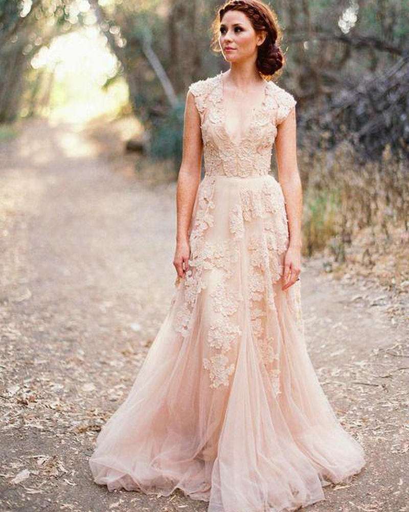 Vintage Style Lace Wedding Dresses: V Neck Lace Wedding Dresses 2017 A Line Bridal Gowns