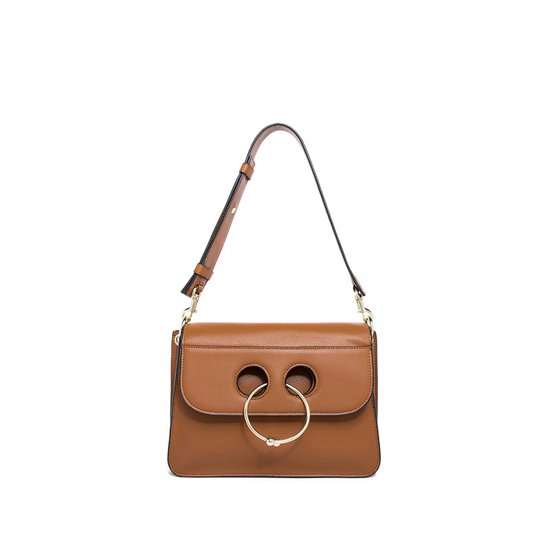 ФОТО New 2017 Fashion Design Classic Cowhide Metal Ring Satchels Split Leather Handbags Women Ladies Shoulder Crossbody Bags an466