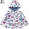 Girls Clothes Jackets For Girls Double Waterproof Raincoat Children Clothing Hooded Girls Jacket Coats Printed Outdoor Kids Coat