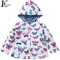 Jacket For Girls Double Waterproof Raincoat Children Clothing Hooded Girls Coats Printed Outdoor Coat Girls Jacket Kids Clothes
