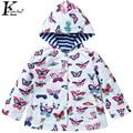Jacket For Girls Double Waterproof Raincoat Children Clothing Hooded Girls Coats Printed Outdoor Coat Girls Jacket Kids Clothes