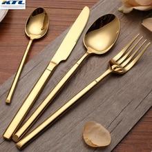 KTL 24 Unids de Oro Juego de Vajilla de Acero Inoxidable de Calidad Superior 6 cena Cuchillo y Tenedor 6 y 6 6 Cucharadita Cubiertos De Oro conjunto