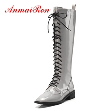 лучшая цена ANMAIRON Boots Women  Bella Hadid  Winter Boots for Girls Round Toe Lace Up Zip  Knee High  Combat Boots Big Size 34-40 ZYL1364